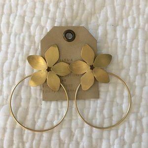 Anthropologie Flower Hoop Earrings